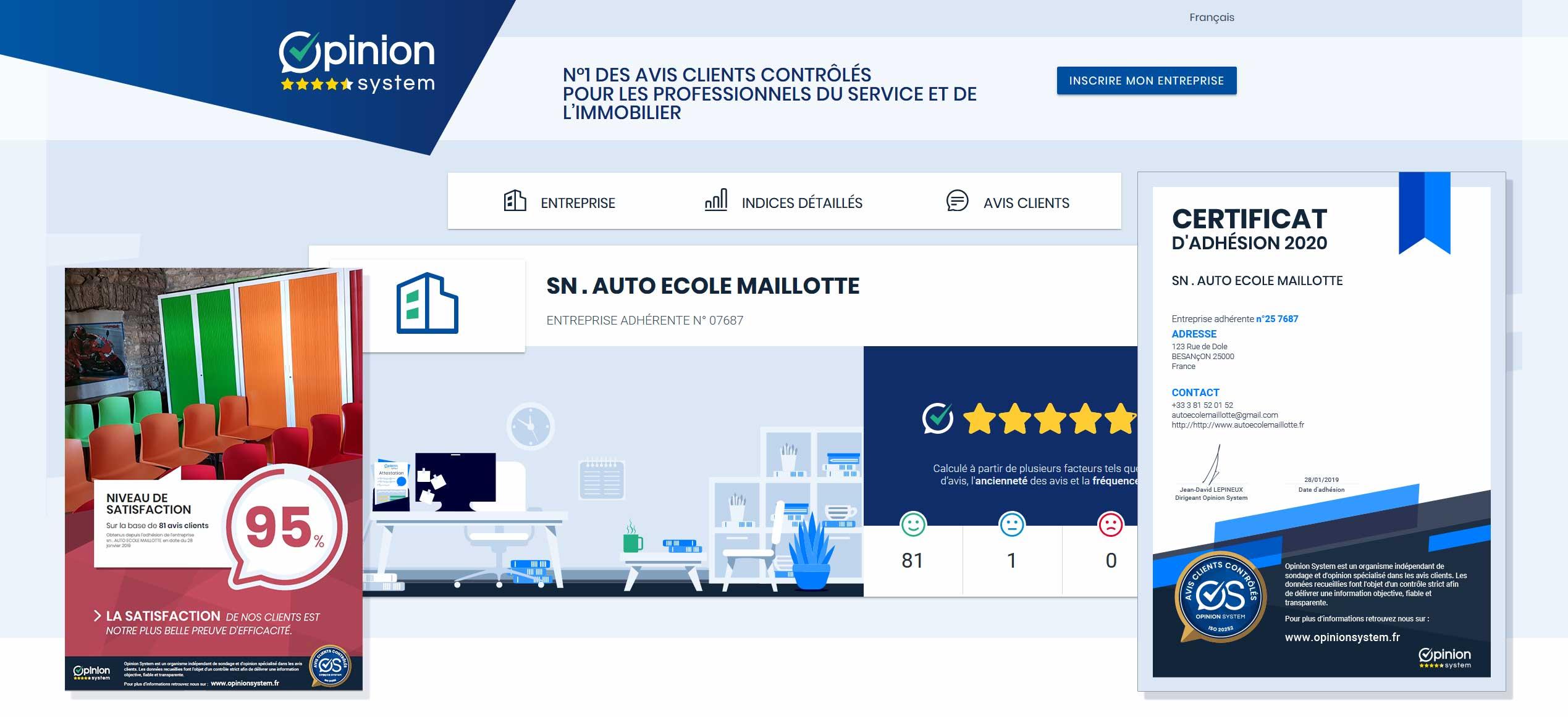 Opinion System : les avis des clients de l'Auto-école Maillotte à Besançon [aem_opinionsystem2020]